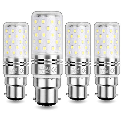 HZSANUE LED Lampadina Mais 12W B22, LED Lampadine Baionetta, 6000K Bianco Freddo, 1200LM, 100W Lampadine a Incandescenza Equivalenti, Non Dimmerabile, Confezione da 4