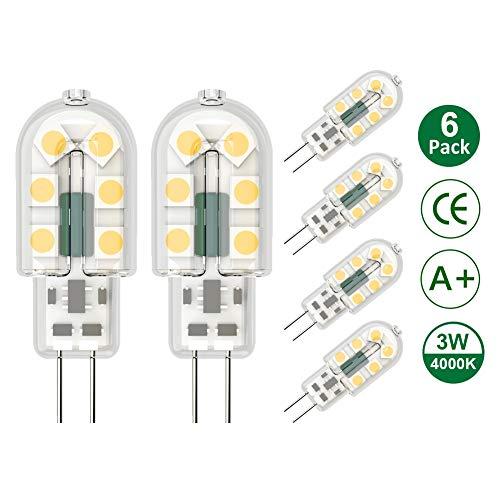 Klighten G4 LED Lampadina, 6 Pezzi 3W G4 Lampada, AC/DC 12V Lampadina, 3W Equivalenti a 25W Lampada Alogena, Bianco Naturale 4000K
