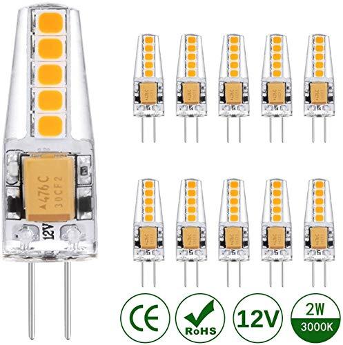 Kohree 10 Pezzi Lampadina LED G4 2W Lampadine Alogena 20W Bianca Calda 2900K 220 lumen AC/DC 12V
