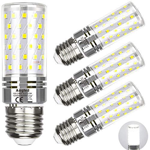 Lampadina LED E27 12W 6000K Aogled,Equivalente 100W Lampada Alogena,Bianco Freddo 6000K,1200LM,Angolo 360,Lampadina Edison,Non Dimmerabile,Nessun Sfarfallio,AC85-265V E27 Illuminazione led,4 Pezzi