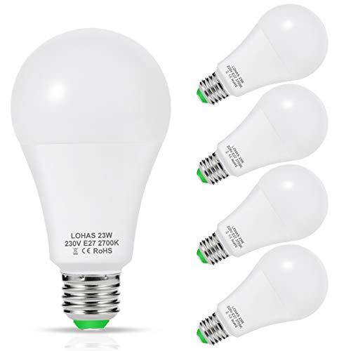 Lampadina LED E27, 23W Equivalenti a 200 W, LOHAS E27, Bianco Caldo 2700K, 2500LM, Non Dimmerabile, Confezione da 4