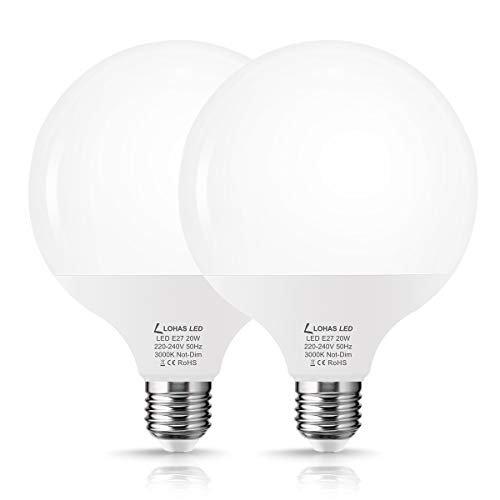 Lampadina LED E27 Globe G120, 1800LM, Lampadina Classica a Globo 25W, Bianco Caldo 3000K, Equivalente a 120-140W, 220V, Angolo Del Fascio di 240 Gradi, Non Dimmerabile, Confezione da 2