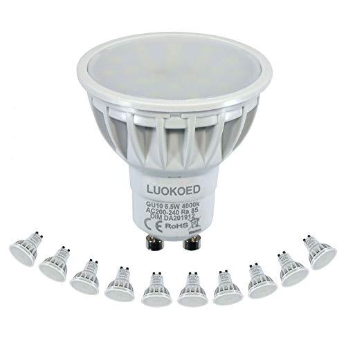 Lampadina LED Faretto GU10 500-550lm Equivalenti 50W Bianca Naturale 4000K Dimmerabile LUOKOED®