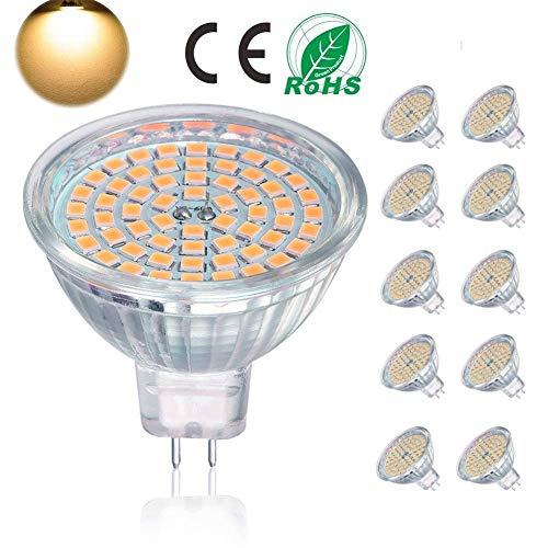 Lampadina LED GU5.3, lampadina MR16 LED 5W equivalente a lampadina alogena 50W,ACDC12V, 400LM, bianco caldo 3000K, non dimmerabile, lampadina a binario faretto a LED, 10 confezioni