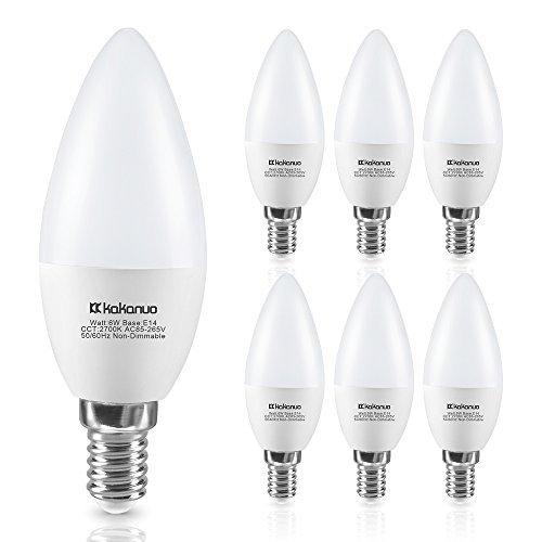 Lampadine a candela E14 LED 6W Equivalenti a 60 W , Kakanuo C37 lampadine a candelabro Bianco Caldo 2700k, 600lm, Non Dimmerabile, 6 Pezzi