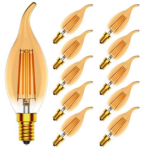 Lampadine a Candela E14 LED, Lampadine a LED 4W Lampadine a LED da 40 Watt Rquivalenti, 400lm, 2700K,CRI>80, Lampada a LED Dimmerabile, Confezione da 10