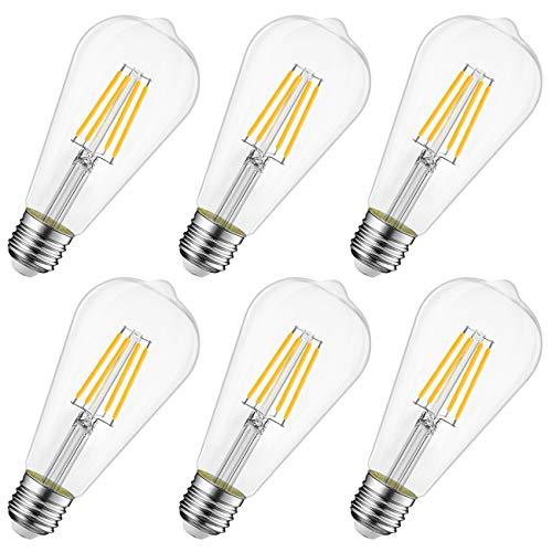 Lampadine a LED Attacco E27, 8W Equivalenti a 60W, 806LM, 2700K, Luce Bianca Calda, LVWIT Forma ST64, Lampadine LED Filamento Edison Stile Vintage, Non-dimmerabile, Confezione da 6 Pezzi