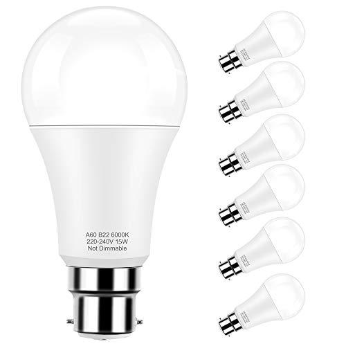 Lampadine a LED Base standard B22, Globe LED A60 15W (lampadina equivalente a 150W), bianco freddo 6000K, angolo del fascio di 360 °, confezione da 6 pezzi Pursnic