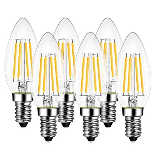 Lampadine di Filamento a LED E14 – 6,5 W Equivalenti a 60W, 806 Lumen, 2700K, Colore Bianco Caldo, LVWIT Forma a candela C35, Stile Vintage Retro', Non Dimmerabile - Confezione da 6 Pezzi