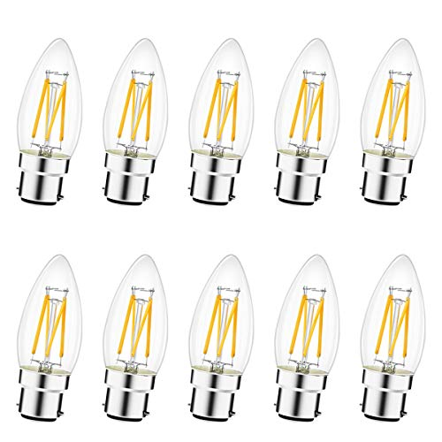 Lampadine LED B22, Lampada Baionetta LED 2,5W Sostituzione 25W, 10 Pezzi Lampadina B22 Filamento, Non Dimmerabile, 230V, 2700K