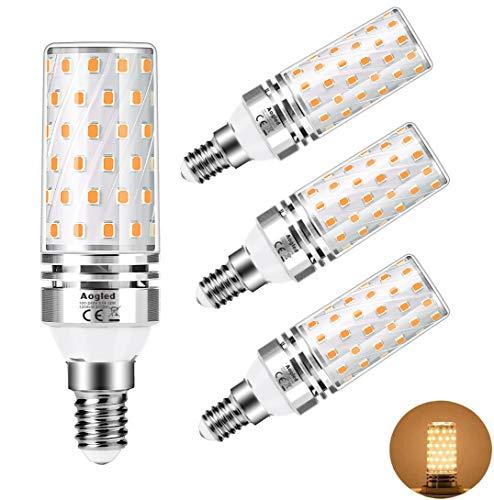 Lampadine LED E14 12W 3000K Aogled,Equivalente 100W Lampada Alogena,Bianco Caldo,1200LM,Angolo 360,Lampadina Edison,Non Dimmerabile,Nessun Sfarfallio,AC100-240V,E14 LED Calda,4 Pezzi