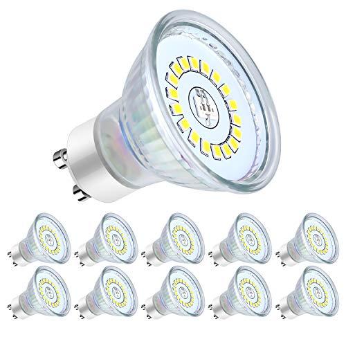 Lampadine LED GU10, 5Watt Pari ad alogene da 50Watt, 560 lumen, Luce Bianca Fredda 6000k, Angolo del Fascio di 120 Gradi, Lampadine LED Non Dimmerabili,Confezione da 10