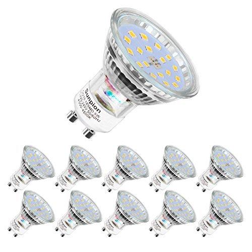 Lampadine LED GU10, 5Watt Pari ad alogene da 60Watt, 600 lumen, Luce Bianca Naturale 4500K, Angolo del Fascio di 120 Gradi, Lampadine LED Non Dimmerabili, Confezione da 10