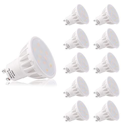 Lampadine LED GU10 6W 4000K Bianco Naturale 500LM Colore LOHAS 50W Di Ricambio Per Lampada Alogena, Ultra Luminoso Lampadine a LED,Non Dimmerabile, Imballaggio Da 10 Pezz