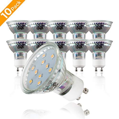 Lampadine LED luce calda, 3W (equivalenti a 25W) attacco GU10, set da 10, 250 Lumen, 3000 Kelvin, per faretti, plafoniere, lampade, illuminazione da interno 230V
