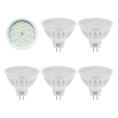 Lampadine LED MR16 Gu5.3 Faretto Bianco Caldo 2700K,Equivalente 50W 600LM Non Dimmerabile RA85 AC/DC12V 5 pezzi.