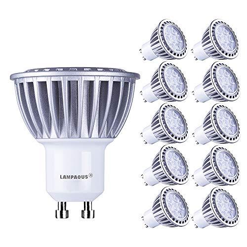 Lampaous, 10 lampadine a LED, attacco GU10, 7W, bianco caldo, equivalenti a lampadina alogena da 70W, 600 lm, 230V CA