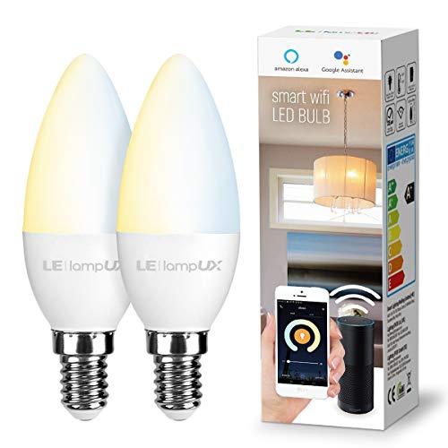 LE Alexa E14 LED Lampadina WiFi, 4.5W (=40W), Bianco Caldo e Freddo (2700K - 6500K), Lampadina LED Dimmerabile Controllo da APP e Voce, Smart Lampadine Compatibile con Alexa e Google Home, 2 Pezzi