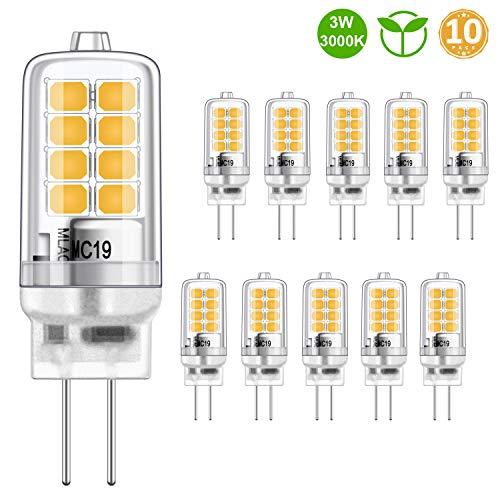 LED G4 Lampadina 3W Equivalente a 20W alogena Bulbi, Bianco caldo 3000K, g4 presa di corrente Risparmio energetico Lampada, Senza sfarfallio, non dimmerabile, 350LM, 12V AC/DC, confezione da 10 pezzi