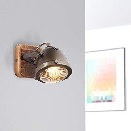 Lightbox - Lampada da parete retrò, dimmerabile, 1 luce, faretto da parete a LED interno orientabile, attacco GU10 per max. 5 Watt, metallo, acciaio marrone