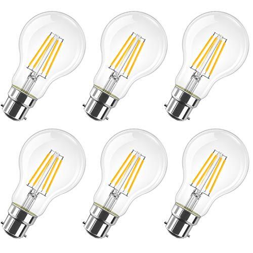 LVWIT Lampadine Filamento a LED B22-8W equivalenti a 60W, 806 Lumen, 2700K Colore Bianco Caldo A60 Lampadina a LED Vintage retrò, Non Dimmerabile - Confezione da 6 Pezzi.