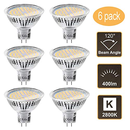 MR16 Lampadine LED GU5.3 Ketom 12V Bianco Caldo 2800K 5W MR16 LED Lampada Equivalente a 35W Alogena Non Dimmerabile Gu5.3 Faretto a led 120°Fascio luminoso 400LM 6 Pezzi