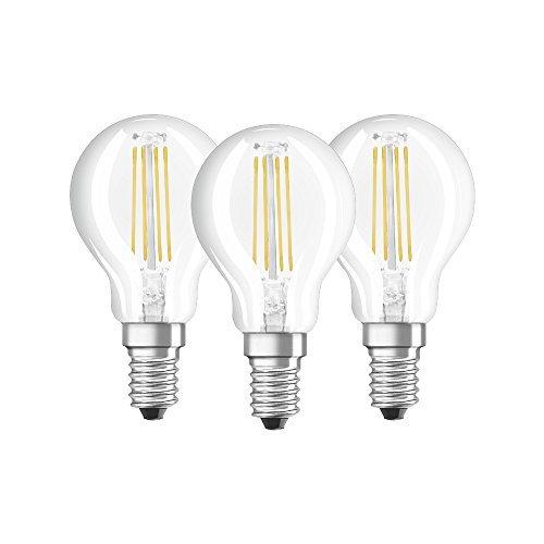 Osram Base Clas P Lampada LED E14, 4 W, Luce Calda, 3 Lamp