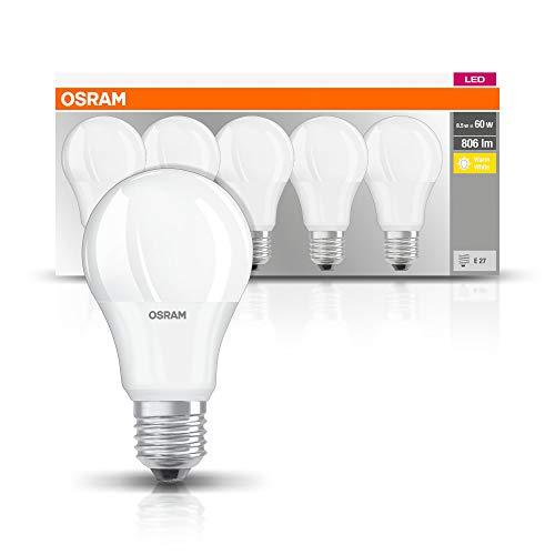Osram Basecla60 8,5W/827 230Vfr Fs5 Lampadina LED a Goccia, Luce Calda, E27, 60 W Equi 8.5 W, Bianco, 5 unità