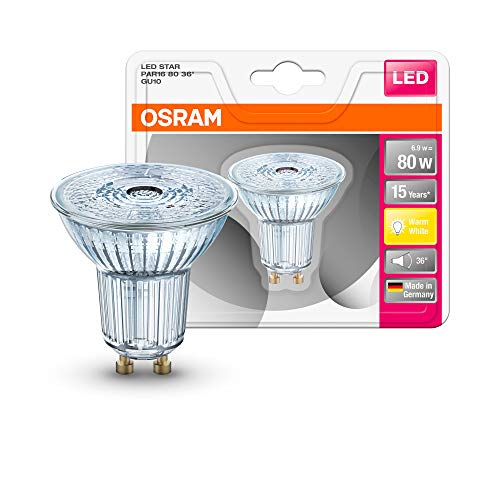 Osram Lampadina Led Star Full Glass Par16 36° Gu10 Bli, Vetro, Chiara, 80 W, a riflettore