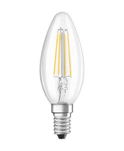 Osram Lampadine LED Candela, 4W Equivalenti 40W, Attacco E14, Luce Calda 2700K, Confezione da 3