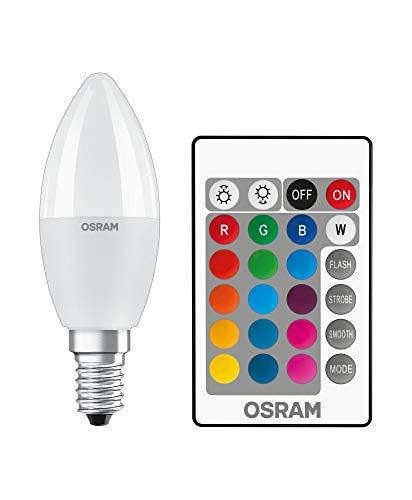 OSRAM LED Retrofit RGBW lamps with remote control Pacco da 4 x Lampadina LED, Attacco: B22d, Bianca Calda, 2700 K, 2.50 W, Equivalenti a 25 W, LED Retrofit CLASSIC P, Opaco, Taglia Unica