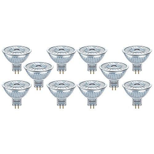 Osram LED Superstar MR16, 12V, Angolo: 36 °, 2700K, Bianco Caldo GU5.3, 4.8 W, Chiara, 10 unità