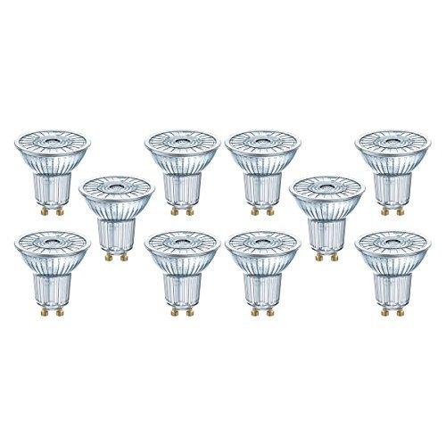 Osram LED SuperStar PAR16 Lampada a riflettore con attacco GU10, dimmerabile, 8 W, angolo del fascio di 36 °, 2700 Kelvin, bianco caldo, confezione da 10