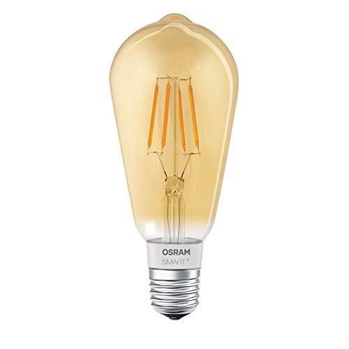 Osram Smart+ Lampadina LED a Filamento Bluetooth, Compatibile con Apple Homekit e Android Forma Edison, E27, 60W Equivalenti, Dimmerabile, Finitura Ambrata
