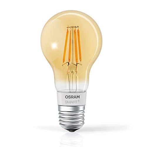 Osram Smart+ Lampadina LED a Filamento Bluetooth, Compatibile con Apple Homekit e Android Goccia, E27, 60W Equivalenti, Dimmerabile, Finitura Ambrata