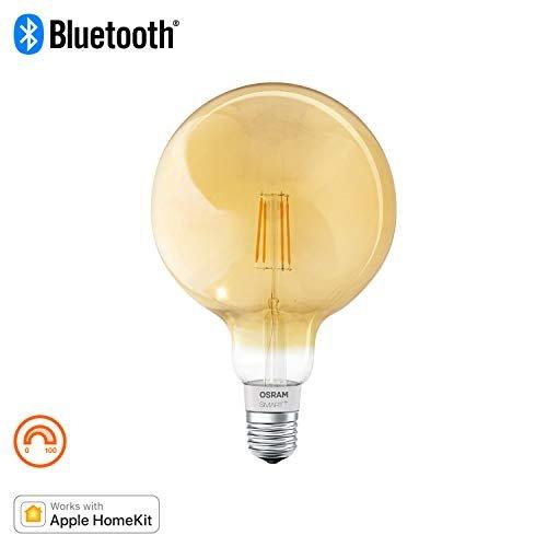 Osram Smart+ Lampadina LED a Filamento Bluetooth, Compatibile con Apple Homekit e Android Globo, E27, 60W Equivalenti, Dimmerabile, Finitura Ambrata