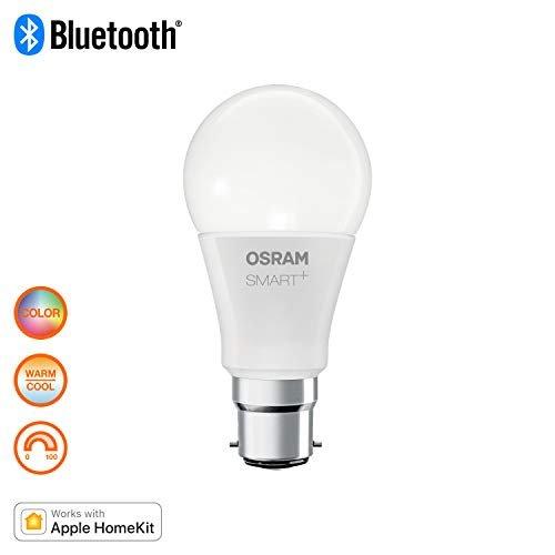 Osram Smart+ Lampadina LED Bluetooth Compatibile con Apple Homekit e Android, Goccia, B22D, 60W Equivalenti, Luce Colorata RGBW, Confezione da 4 Pezzi