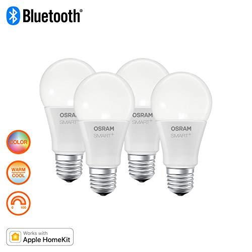Osram Smart Plus Lampadina Luce Colorata, E27, Confezione da 4, led, regolare, plastica