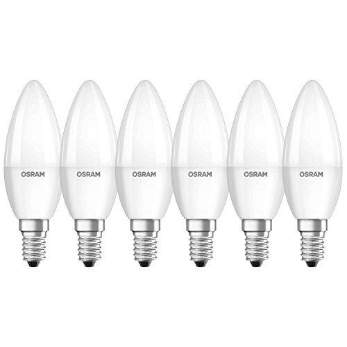 Osram Star Classic B Lampadina LED, E14, Plastica, Smerigliata, 40 W, Confezione da 6, a oliva
