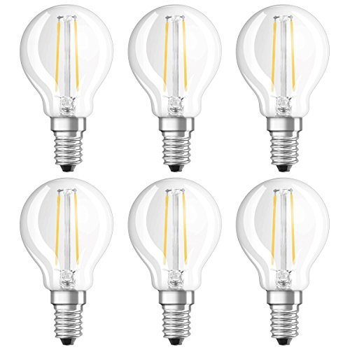 Osram Star Classic P Lampada LED, E14, 1.1 W, Trasparente, 6 Unità, a sfera, vetro