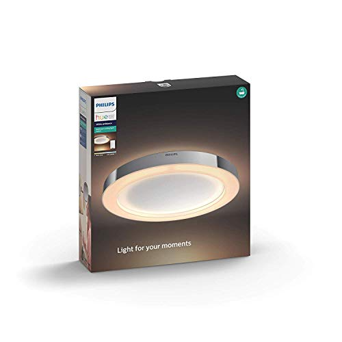 Philips by Signify Adore Bathroom Ceiling Light Philips Hue 43 W, Argento, 40.5 x 40.5 x 5.2 cm