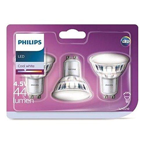 PHILIPS Confezione da 3 faretti LED, Attacco GU10, 5 W equivalenti a 50 W a incandescenza, 380 Lumen, Luce Bianca Fredda