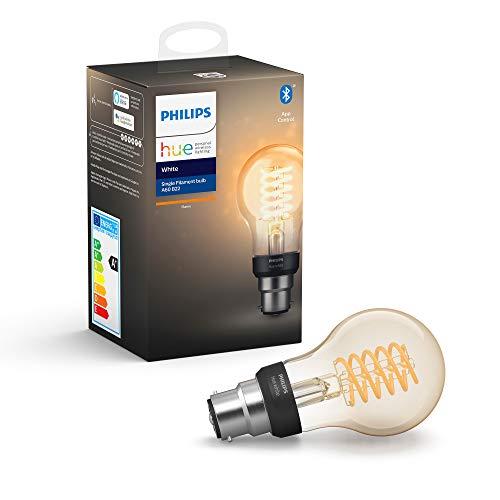 Philips Hue - Lampadina LED con filamento E27, compatibile con Bluetooth e Alexa Filamento B22 standard trasparente, Dispositivo Certificato per gli umani