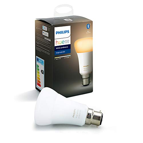 Philips Hue - Lampadina LED Smart White Ambiance B22, compatibile con Bluetooth, funziona con Alexa Lampadina B22 bianco