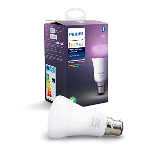 Philips Hue - Lampadina LED Smart White & Color Ambiance B22, compatibile con Bluetooth, funziona con Alexa Lampadina B22 bianco, Dispositivo Certificato per gli umani