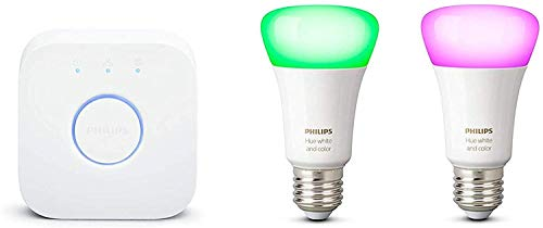 Philips Hue White and Color Ambiance Starter Kit 2 Lampadine Smart con Bluetooth Attacco E27 e un Bridge Hue per Controllo del Sistema
