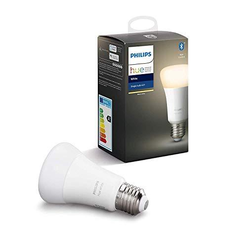 Philips Hue White Lampadina LED Connessa, con Bluetooth, Attacco E27, Dimmerabile, Luce Bianca Calda, 1 Pezzo, Dispositivo Certificato per gli umani