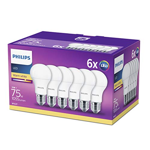 Philips Lampadine LED Goccia, E27, 11 W Equivalenti a 75 W, 2700K, Confezione da 6