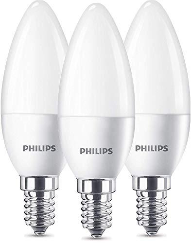 PHILIPS LED E14, 5.5 W, Opaco, 3.5 x 3.5 x 10.6 cm, 3 unità