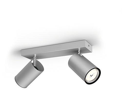 Philips Lighting Aluminium LED Spot Light Philips Faretto Kosipo con 2 Punti Luce, Alluminio, Attacco GU10, Lampadina Non Inclusa, Grigio, 7x24x9.2 cm